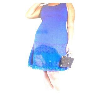 Ashley Stewart Two Tiered Lace Hem Dress